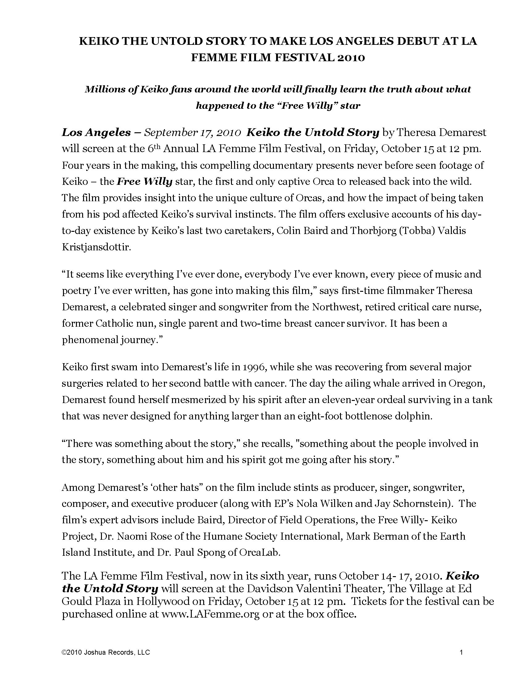 PRESS RELEASES - Keiko The Untold Story of the Star of Free Willy